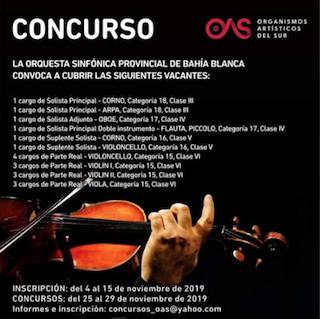 Concursos en la Orquesta Sinfónica de Bahía Blanca